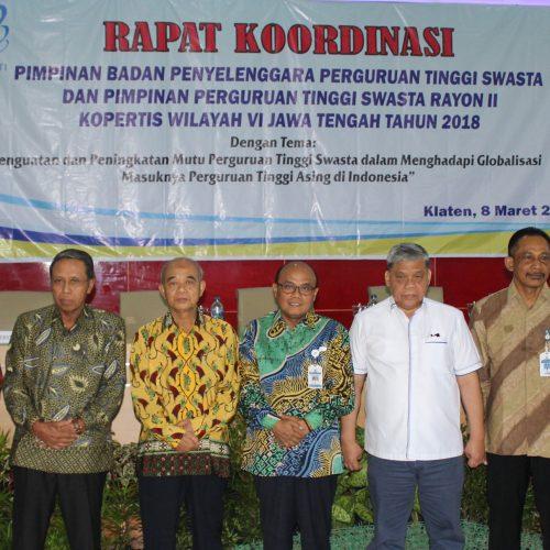 Rapat Kordinasi Pimpinan Badan Penyelenggara dan Pimpinan PTS Rayon II Kopertis Wilayah VI Jawa Tengah