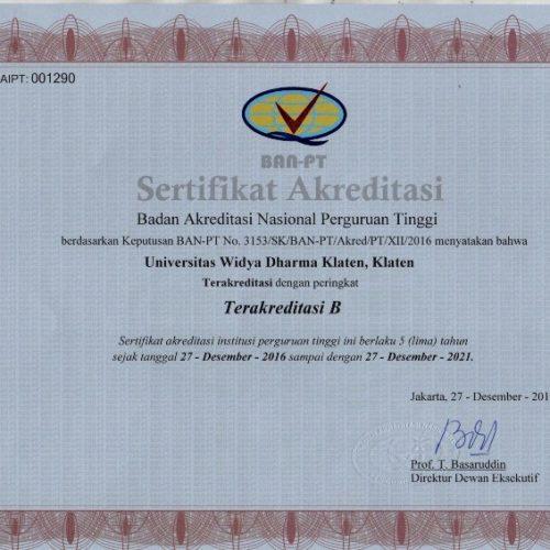 Sertifikat Akreditasi Perguruan Tinggi – UNWIDHA