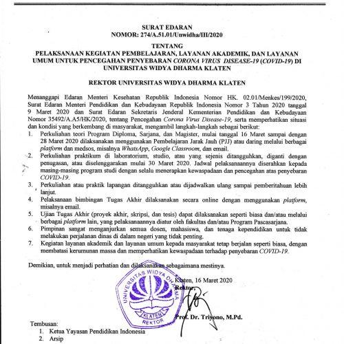 Surat Edaran Pencegahan Penyebaran Corona Virus Disease-I9 (Covid-19)Di UNWIDHA Klaten